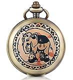 Infinito U Retro elefante Foto medallón cuerda manual mecánica reloj de bolsillo Esfera Blanca Reloj Esqueleto Jersey Collar foto Medallón, ambos Cadenas