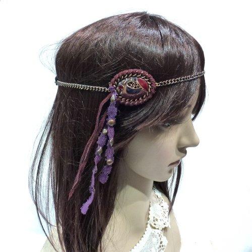 rougecaramel - Headband en métal avec bijou en simili cuir sur le côté style hippie - bordeaux/violet