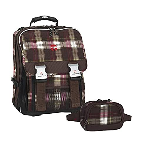 Take It Easy Plaid Schulrucksack MAILAND mit Laptop-Fach (166 braun/pink)