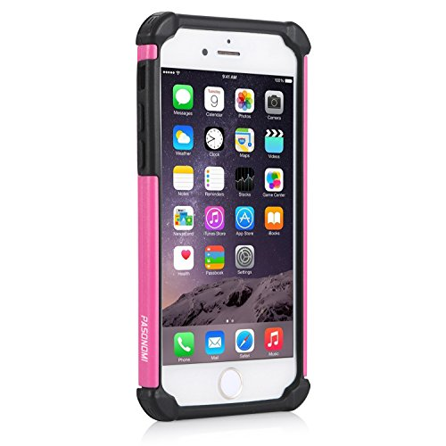 iPhone 6S Plus Hülle, iPhone 6 Plus Hülle, Pasonomi® Outdoor Stoßfest Weich Silikon Dual Layer Hybride Armor Hüllen Bumper Handy Tasche Cover Premium Etui für iPhone 6S Plus (2015) / iPhone 6 Plus (20 Rosa