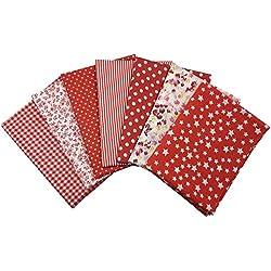 7 Pcs Telas Cuadrados de Algodón Tela Estampado Fabric para Tejido Pactchwork Costura Pelusas DIY Artcraft Trabajo Álbumes de Recortes Acolchado de Lunares 50*50cm Color Rojo