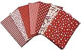 7Pcs Baumwollstoff Patchwork Stoffe DIY Gewebe Quadrate Baumwolltuch Stoffpaket zum Nähen mit vielfältiges Muster 50x50cm Rot