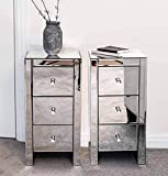Pair of Mirrored bedside tables units cabinets with three drawers and crystal handles
