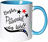 Mister Merchandise Kaffeebecher Tasse Bester Patenonkel der Welt Pate Geburt Schwanger Baby Kind Schwangerschaft Teetasse Becher Weiß-Hellblau