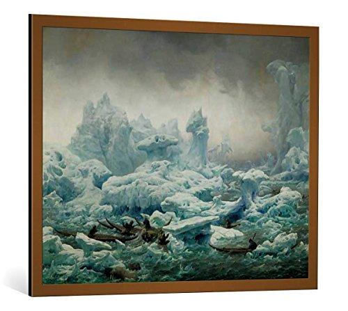 kunst für alle Bild mit Bilder-Rahmen: François-Auguste Biard Vue de l Ocean Glacial pêche au Morse des Groenlandais - dekorativer Kunstdruck, hochwertig gerahmt, 100x80 cm, Kupfer gebürstet