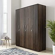 Amazon Brand - Solimo Alpha Engineered Wood 4-Door Wardrobe (Oak Finish)