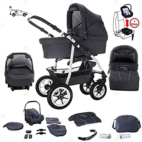 bebebi | modèle bellami | Isofix Base & siège auto–Poussette combi 3en 1–Pneus | couleur: