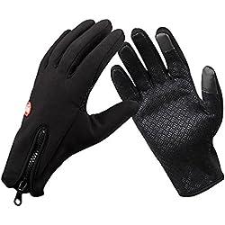 CULOTE térmico Windstopper forro polar clima frío guantes de ciclismo para hombres invierno Nieve mano cálido Esquí Esquí Senderismo motocicleta impermeable pantalla táctil caliente guantes, negro, XL