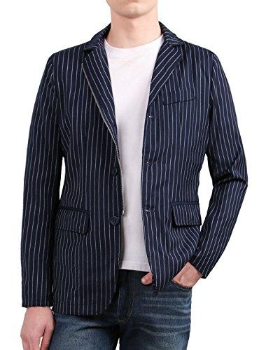 Allegra K Herren Kerbe Revers Brust Tasche Streifen Muster Reißverschluss & Knopf Blazer M, US 38/ EU 48 (Blazer Kerbe-kragen)