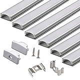 LED Profil - 6*100cm Aluminium LED Profil für LED Streifen/Stripes, Alu U-Profil mit Abdeckung,Endkappen und Profilhalterung Clips