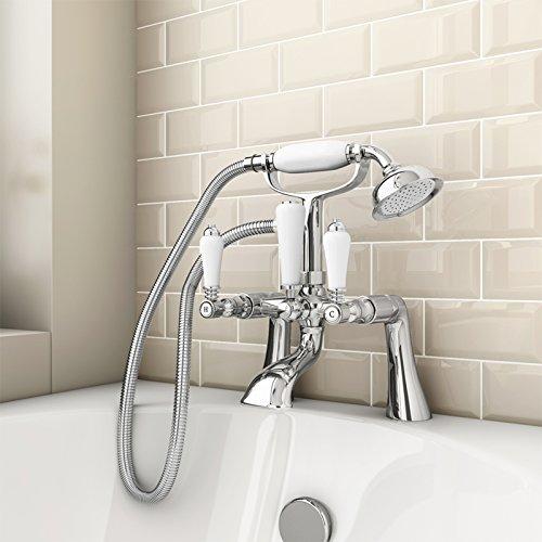 ENKI Rubinetto per vasca da bagno con doccetta ottone/ceramica ...