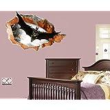 Etiqueta de la pared (superhéroe Batman que vuela adentro) - Pared / agujero rotos en la pared - Pelar y palillo Bricolaje - etiqueta autoadhesiva del vinilo