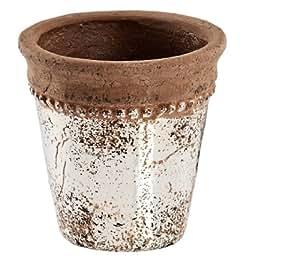 Keramiktopf Shabby Landhaus in silber/braun Pflanztopf H17cm