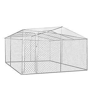 IDMarket - Chenil grillagé 4x4 m avec Toit pour Chiens 16 m²