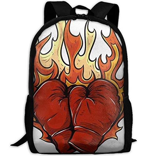 HOJJP Schultasche Boxing Glove Fire School Bookbags Bags Rucksack for Girls Travel Backpack Canvas Backpack Shoulder Bookbags