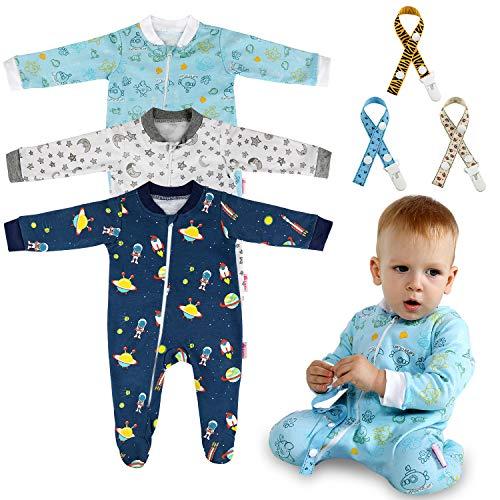 Lictin pigiama neonato tutine neonati - 3 pezzi pigiama bimbo con 3 pezzi catenella portaciuccio - design del piede antiscivolo, 100% cotone (6-10 mesi)
