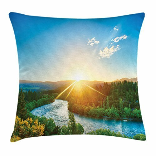 River Throw Pillow Cushion Cover, Descending Sun View over River Clutha New Zealand Blue Sky Calming Nature, Decorative Square Accent Pillow Case, 18 X 18 Inches, Blue Green Marigold -