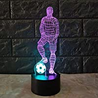 HIPENGYANBAIHU Funny 3D Soccer Touch Table Lamp 7 Colors Changing Desk Lamp USB Powered Night Lamp Football LED Light for Bedroom