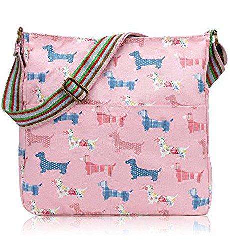 Lovely Uccelli e fiori animali della fattoria Vintage Fiori barboncini cani salsiccia Vintage gufo Pois Scottie Crossbody Borsa Messenger Sausage- Light Pink