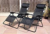 Set of 2 Heavy Duty Textoline Zero Gravity Reclining Garden Sun Lounger Chairs