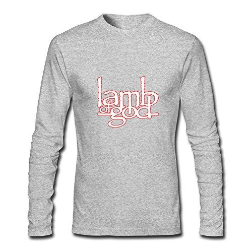 Fashion Lamb of God long sleeve Tops T shirts -  Maglia a manica lunga  - ragazzo Gray L/9-10 Anni