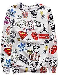 Ninimour Sudaderas con impresión cartoon de Moda Digital Print Pullover Sweatshirt Hoodies para Hombre