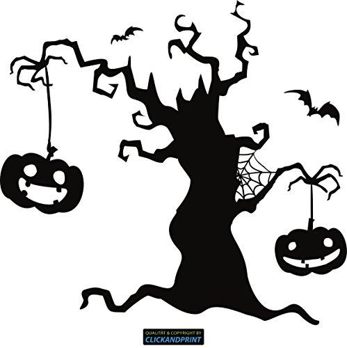 CLICKANDPRINT Aufkleber » Halloween Baum, 40x37,5cm, Schwarz • Dekoaufkleber / Autoaufkleber / Sticker / Decal / Vinyl (Halloween-bäume Schwarze)