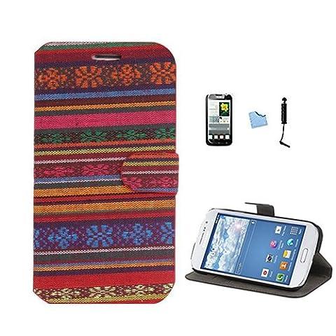 E-Max 4 en 1 Wallet Flip Case Cover Housse Portefeuille Etui Pour Coque Samsung Galaxy Grand Neo (GT-i9060, GT-i9060DS, GT-i9060L) , Stylus et Film protecteur inclus, modèle 34