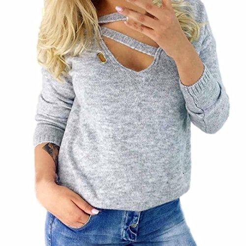 Longra Damen Pullover V-Ausschnitt Bluse Langarm Sweatshirt Herbst Winter Strickpullover lose gestrickte Pullover Oberteil Jumper Tops (Gray, XL) (Grau Die Farben Team Des Gestreift)