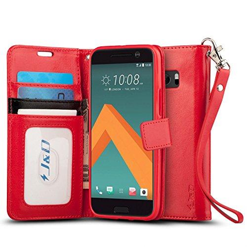 HTC 10 Hülle, J&D [Handytasche mit Standfuß] [Slim Fit] Robust Stoßfest Aufklappbar Tasche Hülle für HTC 10 - Rot
