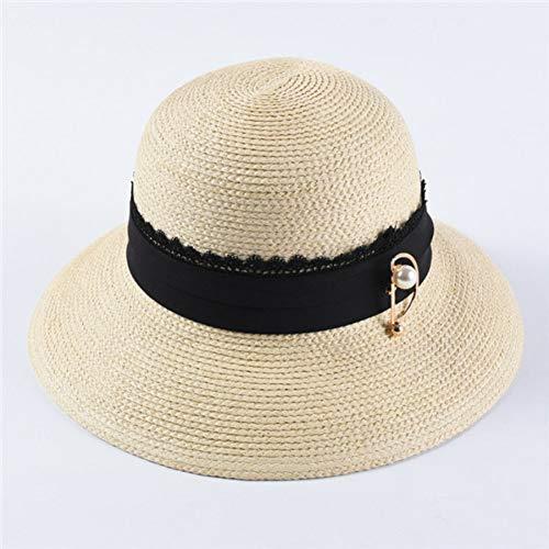Fxhang Frauen Strohhüte Große Krempe Perle Pin Dekoration Sonnenhüte Casual Breathable Beach Hat,Beige,56-58cm Fedora-pin
