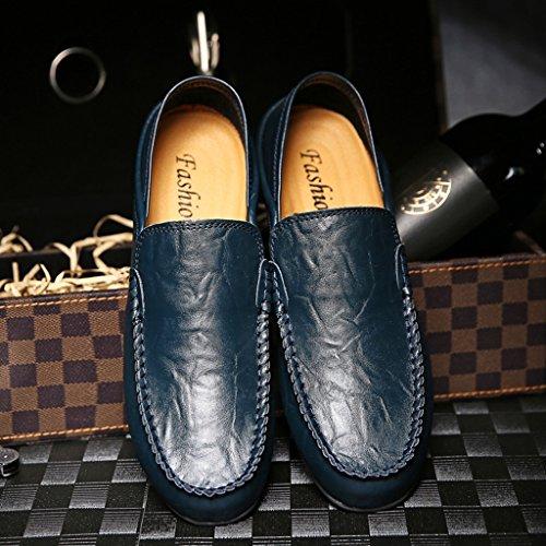SITAILE Herren Leder Mokassin Wildleder Loafers Schuhe Flache Fahren Halbschuhe Slippers Blau