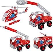 Rubik DIY STEM Toys Kit, Include Fire Truck Fire Pumper Fire Engine and Helicopter Toys for Boys 8+, 4in1 Crea