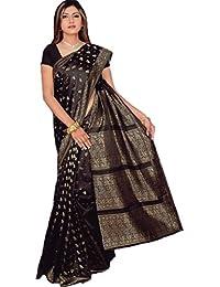 Fertig gewickelter Bollywood Sari Indien Schwarz Gr. M bis L