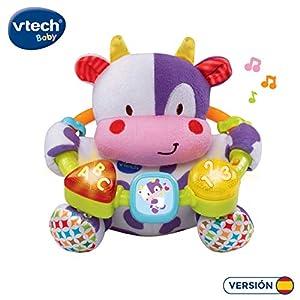 VTech- Vaca muusical Peluche Interactivo de Bebe con Suaves Texturas para desarrollar el Tacto, descubre Primeros números, Letras y Colores (80-166022) (3480-166022)