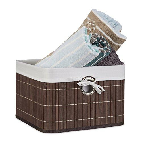 Relaxdays Aufbewahrungskorb Bambus H x B x T: ca. 20 x 31 x 31 cm Regalkorb für Regal und Schrank mit abnehmbarem Stoffbezug als dekorative Aufbewahrungsbox mit Griff und Stauraum zum Falten, braun (Quadratische Aufbewahrungsbox)