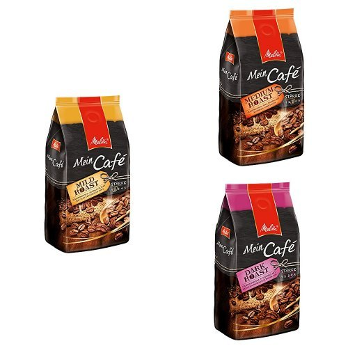 Melitta Mein Café 3kg Mischpackung, Ganze Bohne, Mild Roast 1kg + Medium Rost 1kg + Dark Roast 1kg
