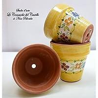 3 Vasi da fiore diam.9 Linea Fiori Misti Bordo Giallo Ceramica Handmade Le Ceramiche del Castello Made in Italy