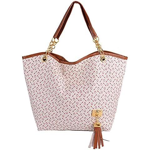 Las mujeres Tote - All4you bolso bolso de cuero sintético con borla cadena