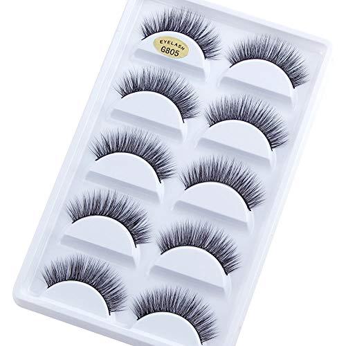 5 Paires de Faux Cils naturel 3D noir longs et entrecroisés Multipack Faux Cils Faits à La Main Pure Réutilisable Extension pour Maquillage regard envoûtant Application facile # 05