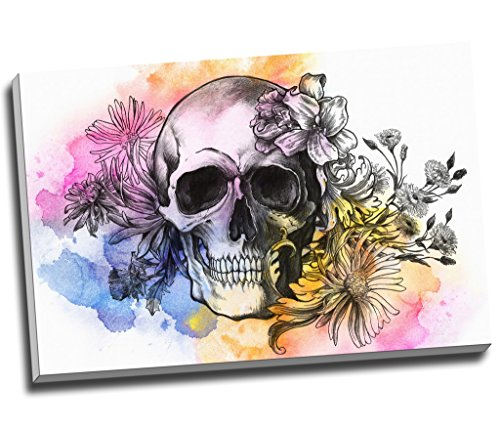 Wasser Farbe Graffiti Skull Candy Wall Art Print auf Leinwand Bild Kunstdruck auf Leinwand groß A176,2x 50,8cm (76.2cm x 50.8cm) -