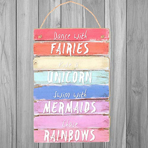 UKtrade Home Decrative Wooden Plaque Lovely Greeting Board Dance With Fairies Plaque Sign Rainbow Coloured Store Customer Greeting Billboard Plaque Wall Decoration