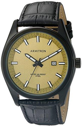 armitron-20-5087gdtibk-del-hombres-fecha-funcin-dial-negro-croco-grain-correa-de-piel-reloj