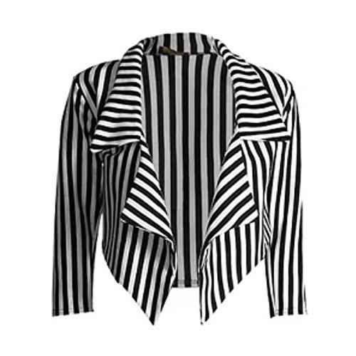 New Womens Black White Stripe Print Open Front Waterfall Crop Blazer Jacket Coat