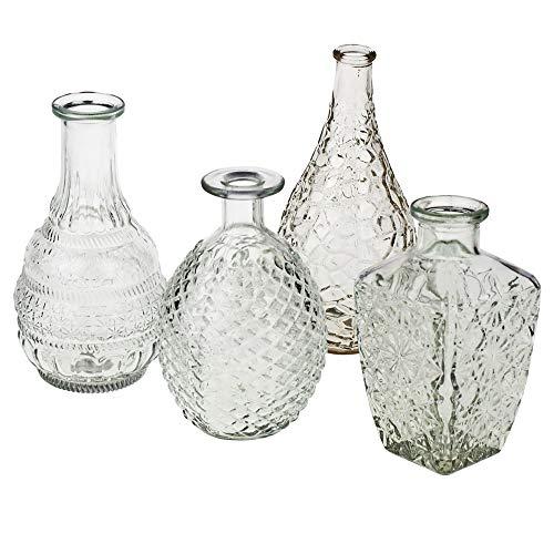 Annastore 12 x Vasen aus Glas Dekovasen Glasvasen Dekogläser Deko Glas Vintage Glasflaschen Größe 14,8-20 cm/ 12 St. / 4 Modelle