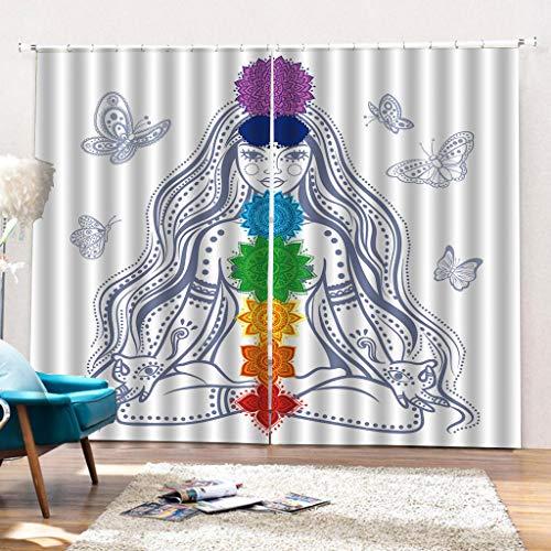 HomeAZWQ Schlafzimmer Vorhänge Blackout Thermal Insulated Window Curtains 3D-Druck Effekt Lange Haare Weiblich Für Wohnzimmer H245 X W340cm - Thermal-haar-produkte