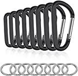 8PCS 8CM Carabiner Keychain Clips with Keyring,Mini Aluminum D Ring Paracord for Outdoor Backpack Hiking Traveling and Key Chain Ring