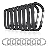 Michael Josh 8PCS 8CM Carabiner Keychain Clips with Keyring,Mini Aluminum D Ring Paracord for Outdoor Backpack Hiking Traveling and Key Chain Ring(Black)