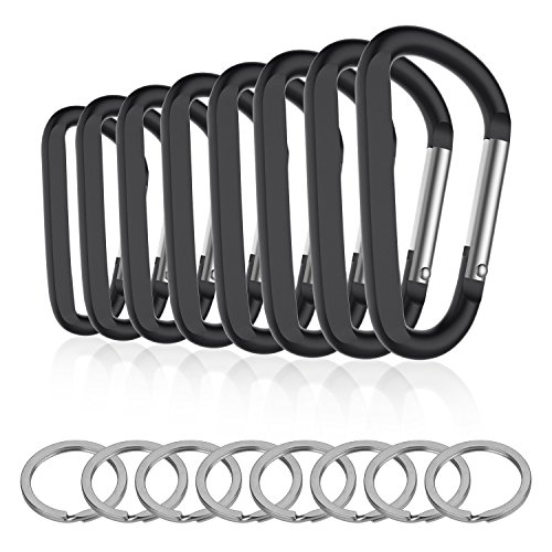 8PCS 8CM Carabiner Keychain Clips with Keyring,Mini Aluminum D Ring Paracord for Outdoor Backpack Hiking Traveling and Key Chain Ring(Black)