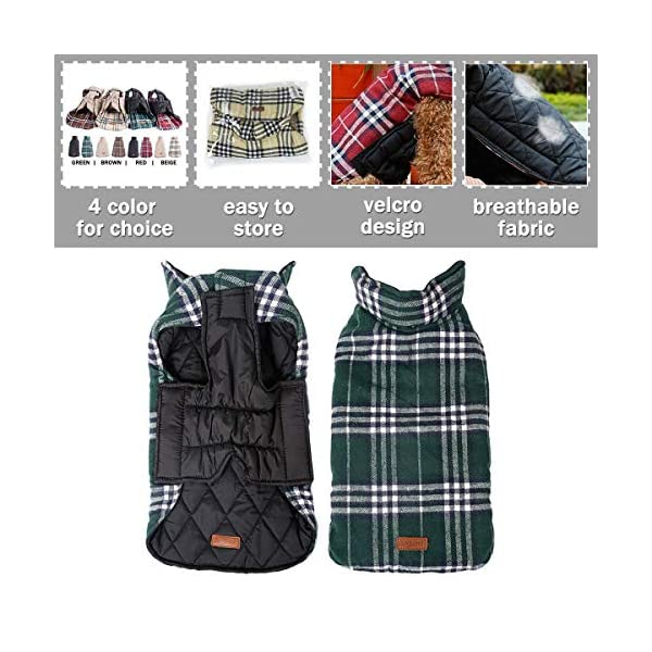 Morezi Cozy Waterproof Windproof Reversible British style Plaid Dog Vest Winter Coat Warm Dog Apparel for Cold Weather Dog Jacket for Double sided available 4